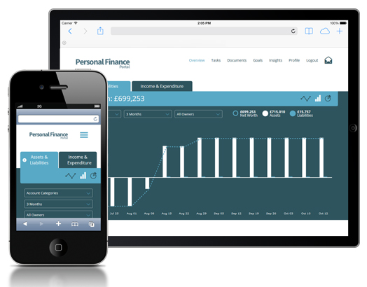 Personal Finance portal on tablet and phone